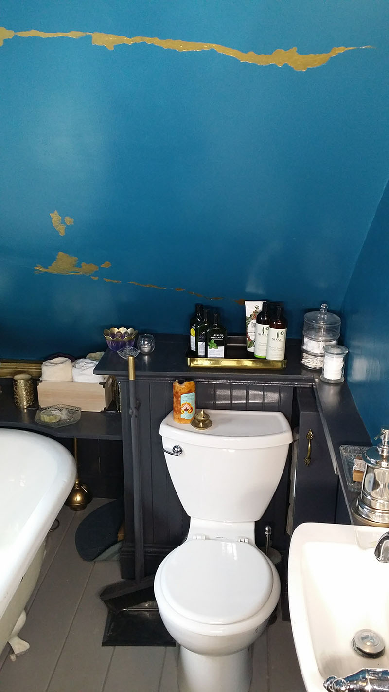 "Bathroom makeover ""after"" photo."